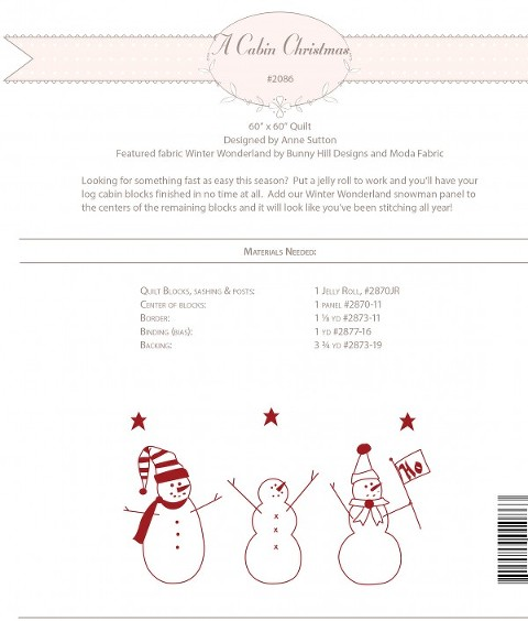 A Cabin Christmas Pattern Back