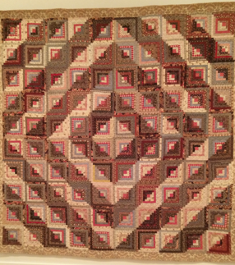 Log Cabin Quilt, 1880 to 1900, maker unknown.